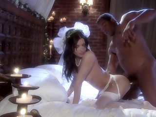 Brunette Latina bride Rebecca Linares pounded in a wedding dress
