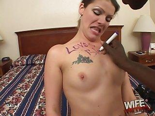 Slutty brunette MILF LT swallows a huge black dick and its cum