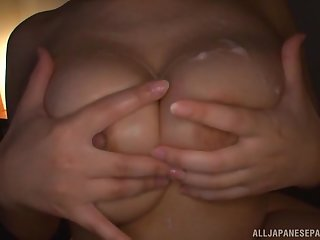 Hanyuu Arisa gives a tit job and a blowjob and gets cum on her tits