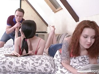 Brand-new gal Sheylley Bliss is poked doggy during wild MFF threesome