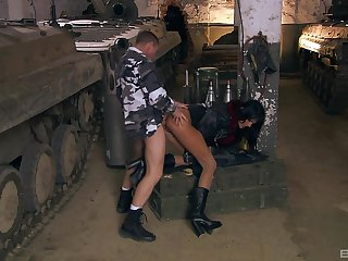 Army man fucks whore in the ass with an increment of pussy