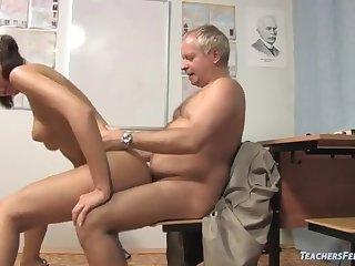 Kinky teacher seduces sweet student into company sex