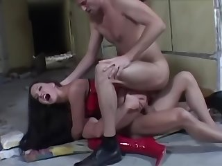 Baby upon corset added to red thigh presumptuous wine steward enjoys some DP added to anal fun