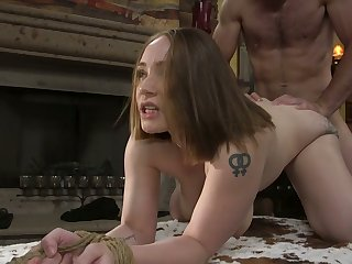 American busty bondage whore almost big arse Hadley Mason is mouthfucked