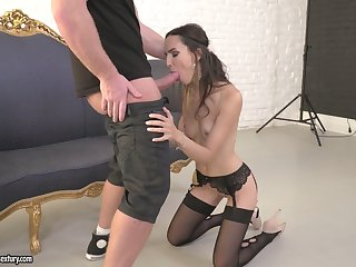 Tall leggy model Lilu Moon is fucked in anus and pussy by handsome photographer