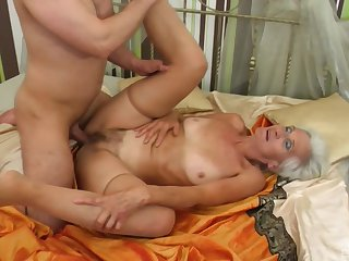 Granny loves nearly fuck with younger men and pay off their jizz