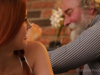 Talkative with the addition of impudent Czech nympho Charli Red lures older man for wild fuck