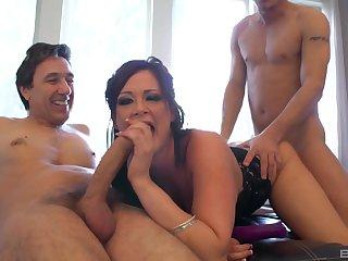 MILF deals two fat cocks down a smashing threesome