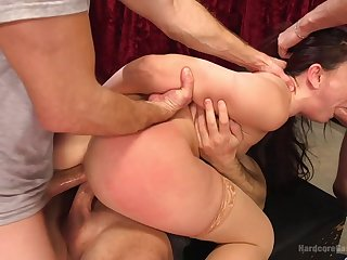 A severe threesome for the obedient babe in bondage XXX