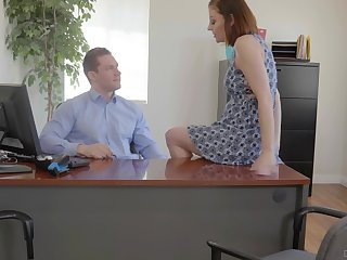 Busty office bawd Sovereign Syre gets pounded insusceptible to top of her boss's desk