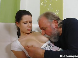 Naughty young gal Irene is seduced by plump gaffer who wanna fuck her