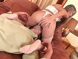 Curvy bimbo in a thong possessions her pussy licked then banged hardcore