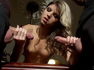 Petite blonde Gina Gerson gets a mouthful of cum after inane threesome sex