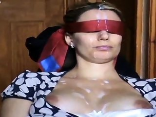 My wife Colette blindfolded tied sharded for cum facial