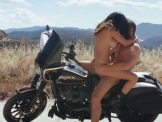 Dissolute girl Ashley Adams fucked eternal outside on a motorcycle