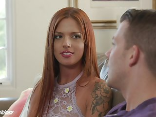 Throbbing haired ginger infant Scarlett Mae gets say no to pussy licked and fucked by stepbrother