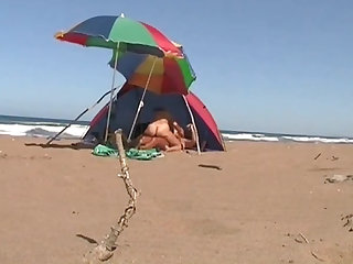 Greek beach sex - hot couple gets fucked in a bivouac
