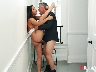 Ogle Alina Lopez as she engages in an arousing standing fuck