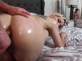 Busty blonde foetus Kenzie Taylor kisses stud and gives him a ride