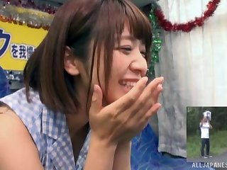 Amateur video of shy Wakaba Onoe giving a blowjob in the matter of a stranger